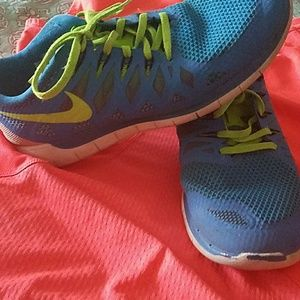 1a1b695474f9b Nike Shoes - Nike free 5.0 bright blue and neon green shoes